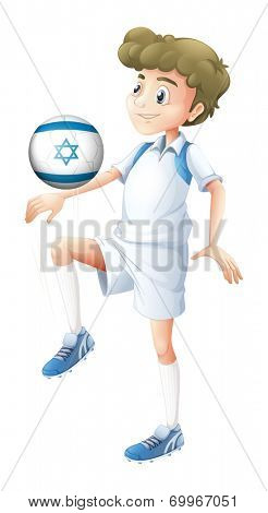 Illustration of a boy using the ball with the flag of Israel on a white background poster