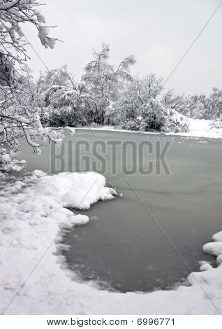 Landscape of winter snow and a frozen lake
