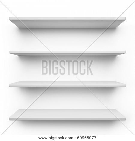 Empty shelves isolated on clean white background.