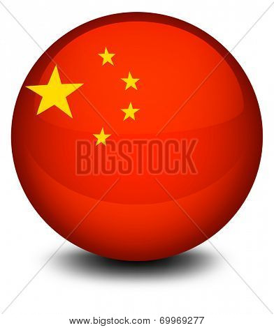 Illustration of a ball designed with the flag of China on a white background