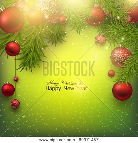 Christmas background with red balls and green branches. Red Xmas baubles. Vector