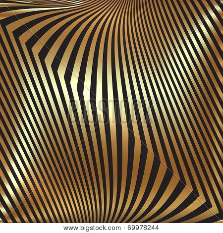 Vector abstract  black and golden metallic background with zigzag stripes poster