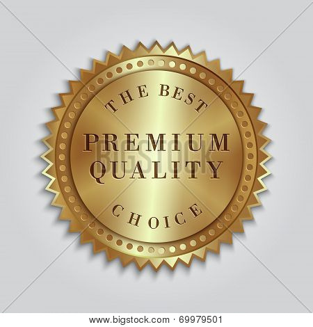 Vector round golden badge label with text