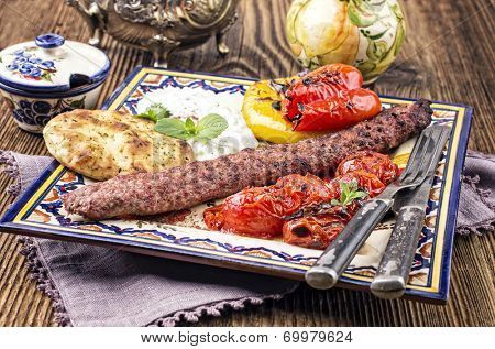 kebab with grilled vegetables