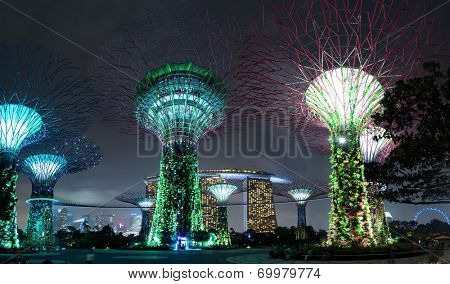 SINGAPORE - 31 DEC, 2014: Supertree Grove at Gardens by the Bay in Singapore. One of the most popular travel destinations and tourist attractions in Asia