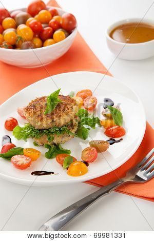 Crab Cakes And Tomato Salad
