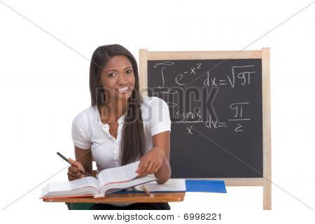 Black College Student Woman Studying Math Exam