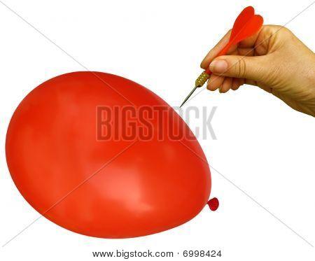 Balloon goes bang.
