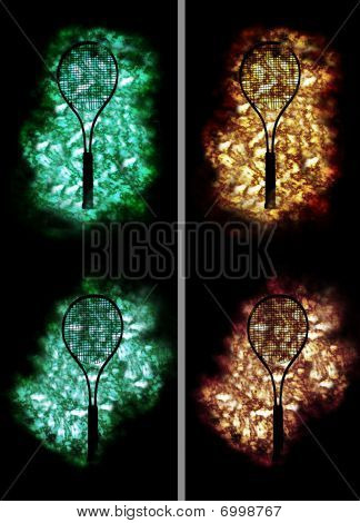 four tennis rackets on 4 different golden and green backgrounds poster