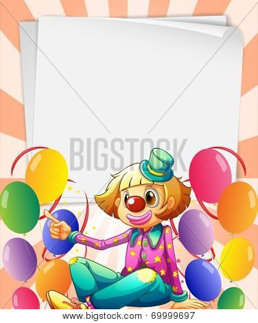 Illustration of the empty bondpapers with a clown and balloons