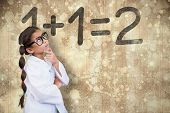 Cute pupil dressed up as scientist against wooden surface with planks poster