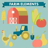 Farm and agriculture icons: spica, tractor, shovel, corn, chicken, egg, tomato poster