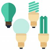 Flat Energy Saving bulb, compact fluorescent lamp and Incandescent lamp poster