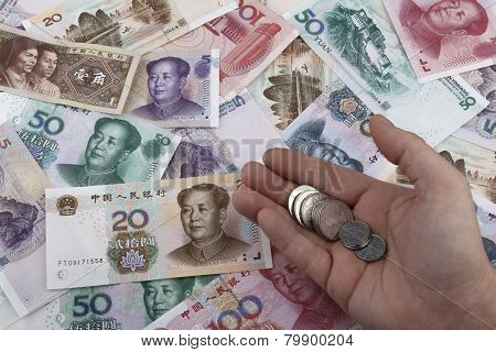 Chinese Money (rmb) Notes And Coins. Business Concept.