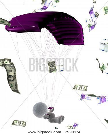 abstract 3D cartoon of a soft toy parachuter flying in bank notes, Illustration on white background