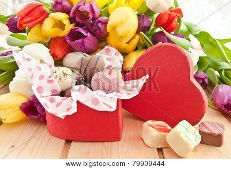 Variety Of Chocolates In Heartshaped Box