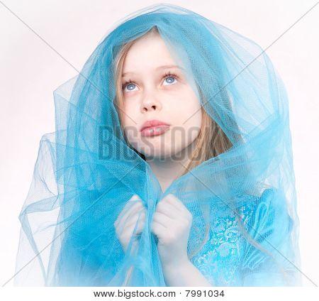 Portrait Of Praying Girl, Blond Child
