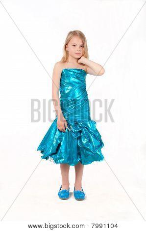 Beautiful Little Girl In Blue Dress, Studio