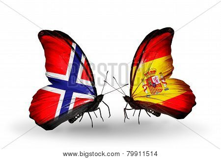 Two Butterflies With Flags On Wings As Symbol Of Relations Norway And  Spain