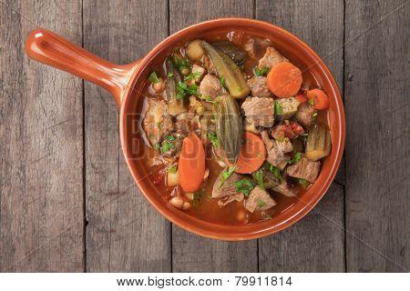 Pork and okra gumbo, cajun style stew