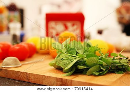 Food Preparation Background With Strainer