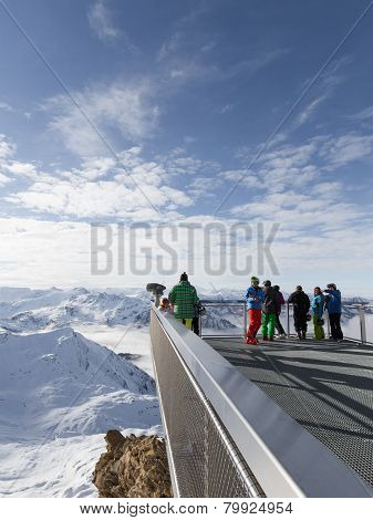People In Snowy Alps