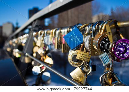 Ottawa, Canada - February 16: Love Locks On Corktown Footbridge On The Rideau Canal.