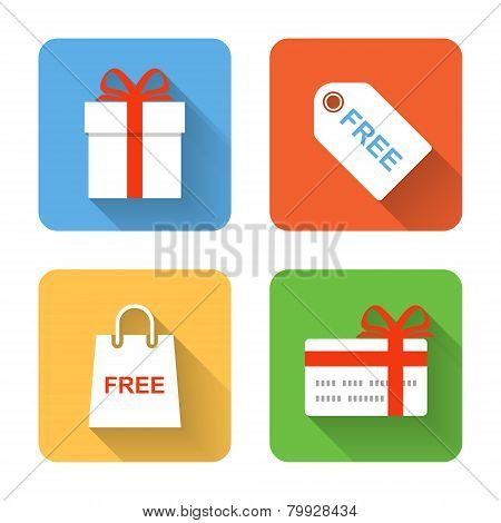 Flat Shopping Gift Icons. Vector Illustration
