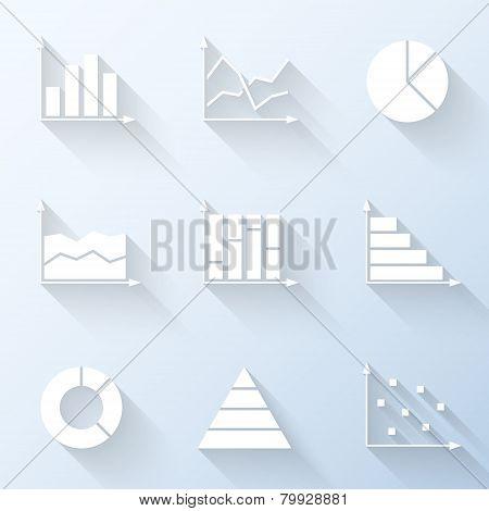 Flat Graph Icons. Vector Illustration