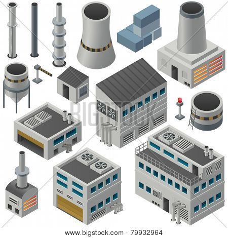 Huge collection of isometric industrial buildings and other objects, Could combine together in order to create big industrial area.