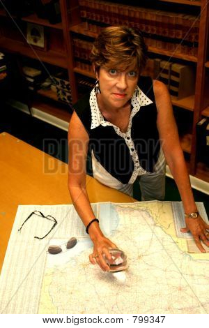Woman and a map