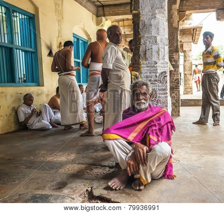 Thanjavour, India - February 14: An Unidentified Indian Men Are In The Brihadeeswarar Hindu Temple.
