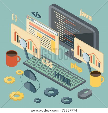 Isometric illustration on programming theme
