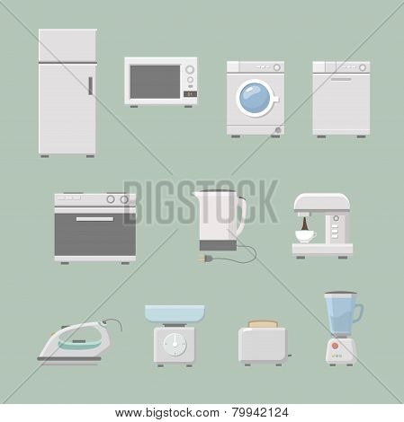 Set of kitchen appliances flat icons  with a washing machine  stove  fridge iron  microwave scale  k