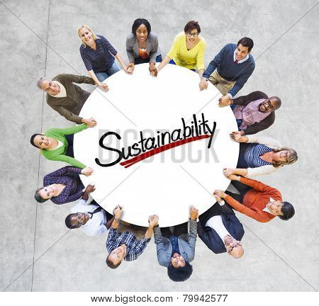 Aerial View People Community Sustainability Green Business Concepts