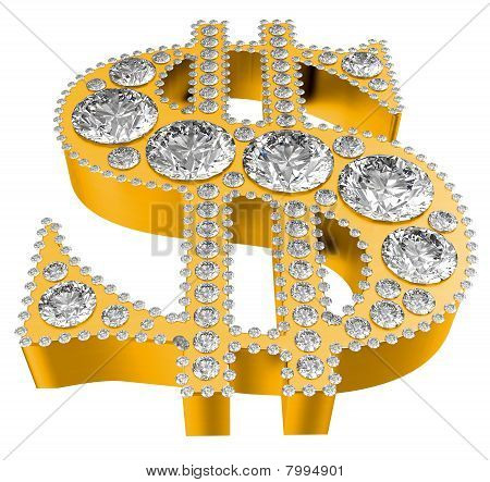 Golden 3D Dollar Symbol Incrusted With Diamonds