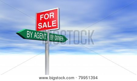 3D Rendered For Sale By Agent or By Owner Sign Concept with lots of space for text and images of your choice. poster