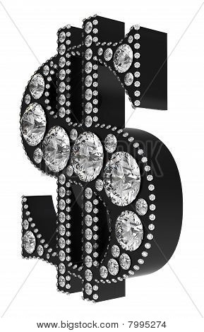Black 3D Dollar Symbol Incrusted With Diamonds