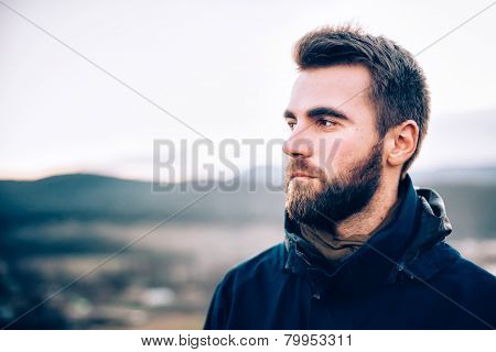 Portrait of handsome man with a beard