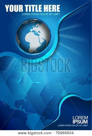 Abstract vector blue background with continents and globe for brochure