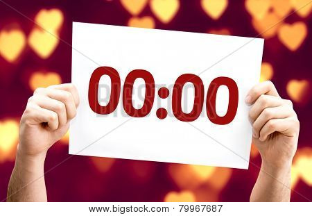 00:00 card with heart bokeh background
