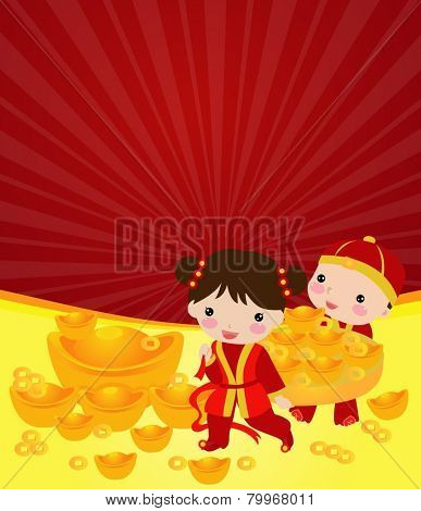 Chinese new year - Chinese boy and girl