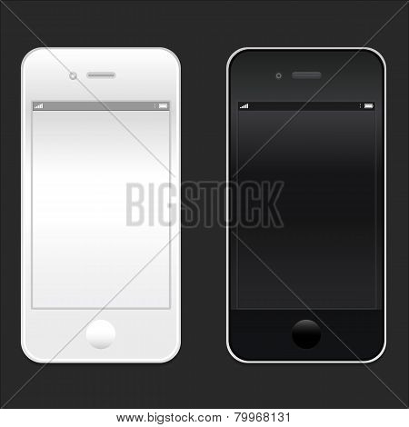 Brand new realistic mobile phone smartphone iphon style in two sizes mockup with blank screen isolat