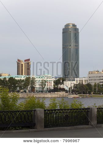 Quay of the river an Iset the city of Ekaterinburg. Modern buildings on a background. A city landscape. Russia. poster