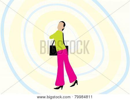 Woman And Handbag Illustration