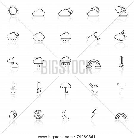 Weather Line Icons With Reflect On White Background