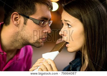 Caught in the act - woman with chocolate