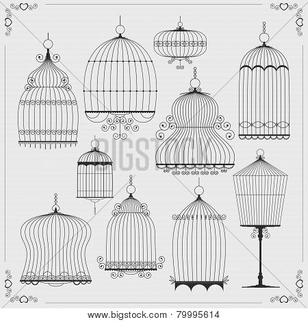 Set of silhouettes of birdcages