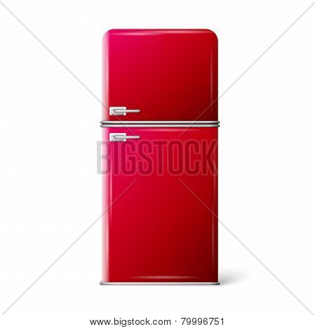 red retro refrigerator
