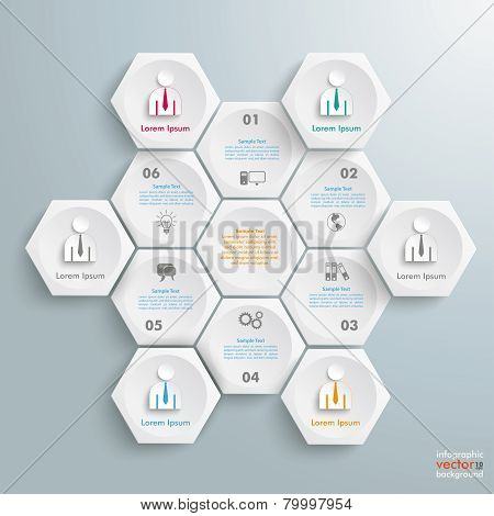6 White Hexagons Cylce Businessmen